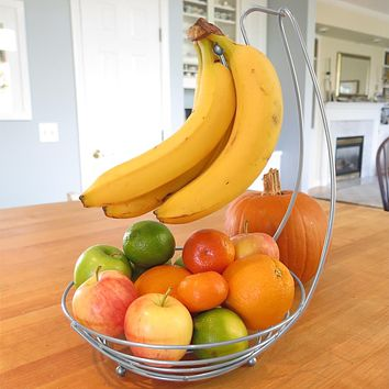Evelots Fruit Basket Bowl- Banana Tree Hanger- Wire Steel- No Rust- Silver