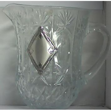 Crystal Pitcher With Diamond Silver