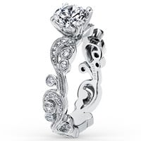 "HARRIGER MONTHLY PAYMENT - Kirk Kara ""Angelique"" Platinum Diamond Scrollwork Engagement Ring Featuring 0.21 Carats Diamonds"