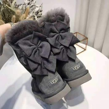 UGG 2018 winter new double bow female models warm and velvet snow boots