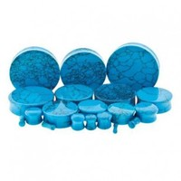Dyed Turquoise Howlite Double Flared Plugs - Sold As a Pair