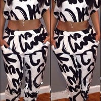 White Abstract Print Short Sleeve Cropped Top and Pants