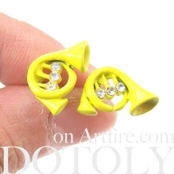 Music Themed Trumpet Shaped Stud Earrings in Yellow | DOTOLY