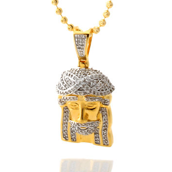 .55CTW Diamond Sterling Silver Jesus Piece Necklace