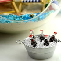 Miniature Cooler with Drinks ~ Metal Tub with Miniature Ice and drinks ~Terrarium Accessory ~ Fairy Garden Miniature ~ Beer or Soda Choice