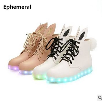 Unisex Wing Fashion Big size 46 Laceshoes Women adult Zapatillas Thick Bottom Led Ankle Bootie Lighted USB Shoes Light Up Pink