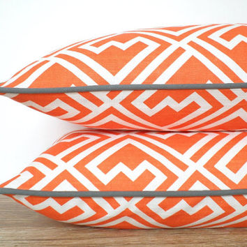 Orange and gray pillow cover 20x12, geometric sofa cushion orange and grey decor, trellis lumbar case, geometric cushion desk chair