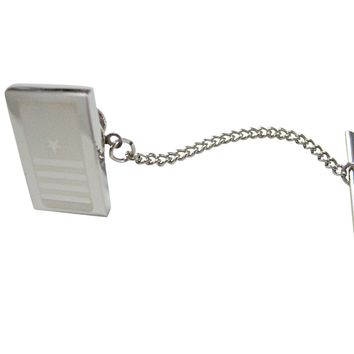 Silver Toned Etched Nautical Captain Rank Tie Tack