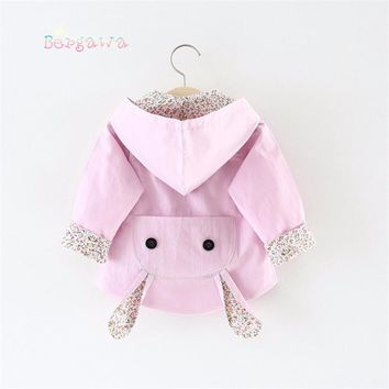 2018 Spring Baby Infants Girls Kids Hooded Cartoon Long Sleeve Bow Jackets Princess Cardigan Outwear Trench Coat Casaco S6247