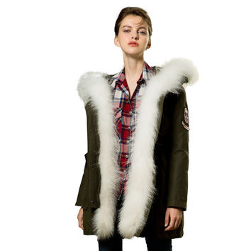 Women Real Raccoon Fur Army Green Down Jacket Parka 201 Long 2 Pieces Detachable Warm Winter Coat Hood Overcoat RS176
