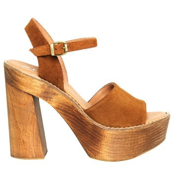 Office Porter Chunky Heel Sandal Tan Suede - High Heels