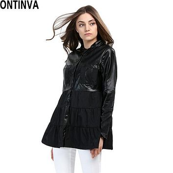 Winter 4XL Plus Size Women PU Leather Jacket Windbreaker Puff Trench Dress Jaqueta Couro Patchwork British Style Trench Coat