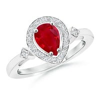 Pear Ruby and Pave Diamond Halo Ring