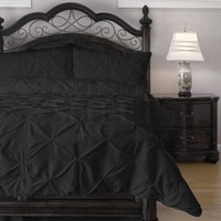 Pinch Pleat Comforter Set - 3-Piece - by ExceptionalSheets, Full, Black (PinchComf_FL_BL)