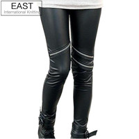 East Knitting Fashions Celebrity Style Neon Metallic Electric Zippers Leather Leggings