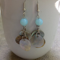 Teal, Sea Shell, dangle earrings