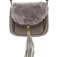 Faux Fur Sure Tasseled Crossbody Bag