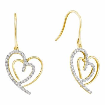 10kt Yellow Gold Women's Round Diamond Heart Love Dangle Wire Earrings 3-8 Cttw - FREE Shipping (US/CAN)