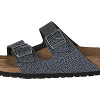 Birkenstock Arizona Soft Footbed - Leather (Unisex) Pebbles Metallic Asphalt - 6pm.com
