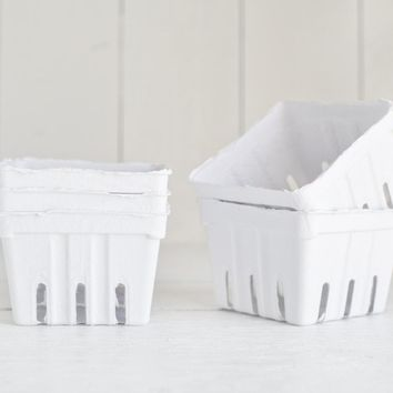 Paper Berry Baskets - 5 White Paper Pulp Boxes
