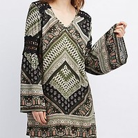 CROCHET-TRIM SHIFT DRESS