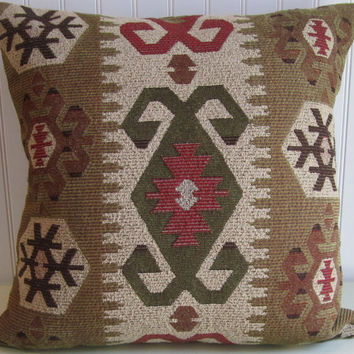 Brown, Sand, Kilim Decorative Pillow Cover- 18x18 or 20x20 or 22x22 Throw Pillow in Green, Red- Accent Pillow.