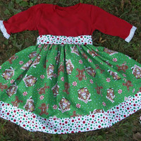 Christmas Gingerbread Holiday Dress/Baby Girls Dress/Christmas Dress/Girls Christmas Dress/Red Dress/Knit Holiday Dress