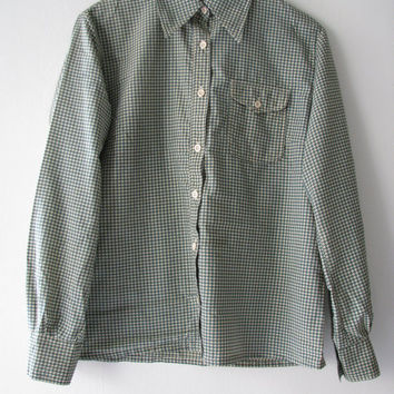 60s Men, Green & White Houndstooth Pierre Pascall Cotton Shirt, S  // Mens vintage Shirt