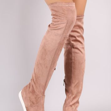 Liliana Suede Over-The-Knee Sneaker Boots