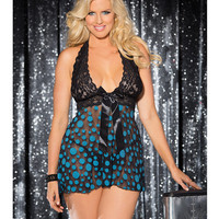 Sheer & Lace Babydoll W-bow & Polka Dots Turquoise-black 1x-2x