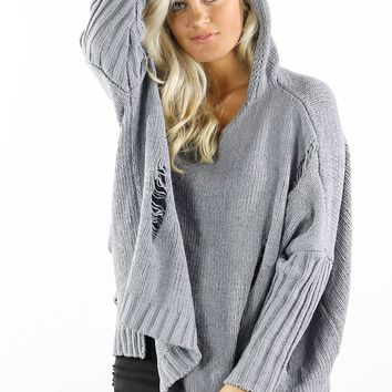 All Night Long Gray Destroyed Chenille Hooded Sweater