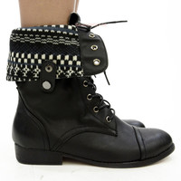 Show & Go Black Foldover Lace Up Combat Boots