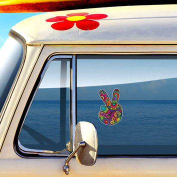 Hippie Peace Sign Hand Sticker - Colorful Flower Car Decal Peace Sign Symbol Vinyl Bumper Sticker 70s Cute Peace Sign Wall Art Love Floral