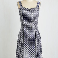 Americana Long Sleeveless A-line Bistro By the Bay Dress