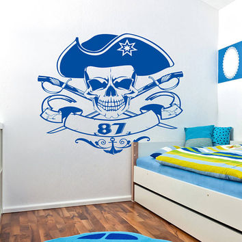 Pirate Skull Wall Decal, Pirate Skull Jolly Roger Wall Sticker, Pirate Decal Kids Room Decor, Pirate Wall Decor for Bedroom Art Mural se133