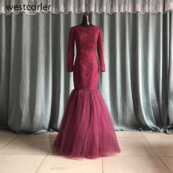 vestidos de noche Burgundy Mermaid Prom Dress 2017 Jewel Neck Long Sleeve Floor Length Formal Party Gowns Prom Dresses