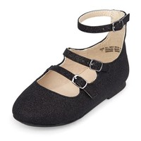 Toddler Girls Faux Textured Metallic Leather Strappy June Flat