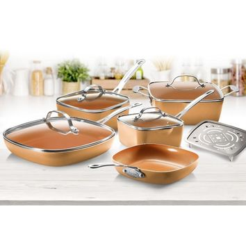 Gotham Steel Copper Square 10 Piece Cookware Set
