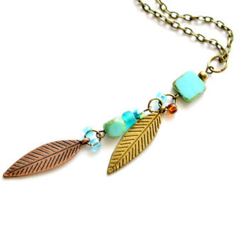 Boho Jewelry Leaf Necklace, Nature Jewelry Turquoise Czech Glass Statement Necklace