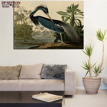 DPARTISAN LOUISIANA HERON BIRDS OF AMERICA by vintage animal  ART PRINT  Original HUGE POSTER FOR WALL DECOR PRINT ON CANVAS