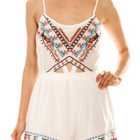 White Embroidered Bohemian Romper | The Handmade Hustle