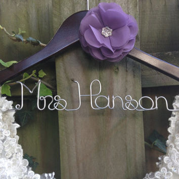 SALE Wedding Dress Hanger, Bride Hanger, Name Hanger, Mrs Hanger, Rhinestone Flower, Wedding Hanger, Personalized Bride Gift