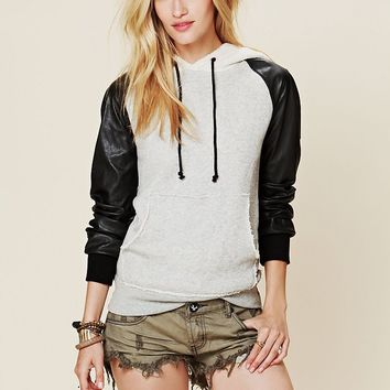 Free People Vegan Leather Hoodie