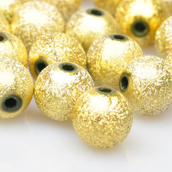 10 Pieces Matte Gold Gilded Ball Spacer Beads, Gold Bead Jewelry Spacer Beads, Jewelry Findings, Jewelry Making Supply