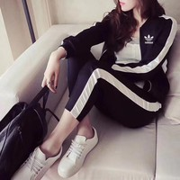 """Adidas"" Women Casual Multicolor Zip Cardigan Long Sleeve Trousers Set Two-Piece Sportswear"