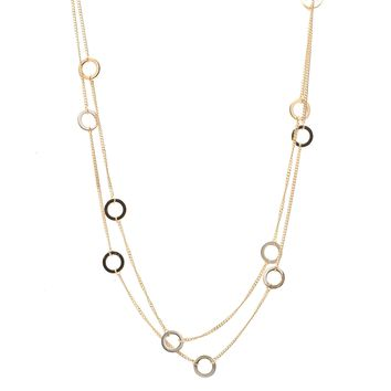 Circle Link Double Line Strand Necklace