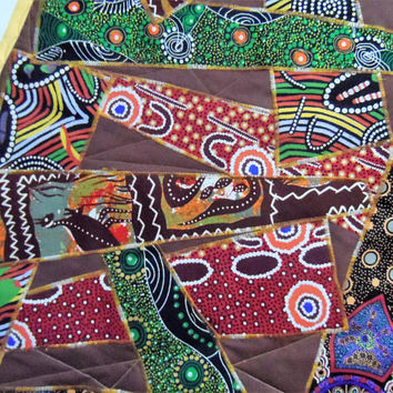 Australian Aboriginal Table Runner - Australian Indigenous Table Runner -  Table Runner - Quilted Table Runner