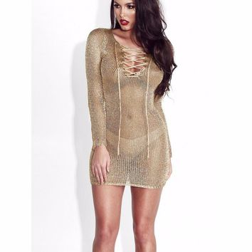 Split Slit Mesh Sheer Long Sleeve Beach Cover Up