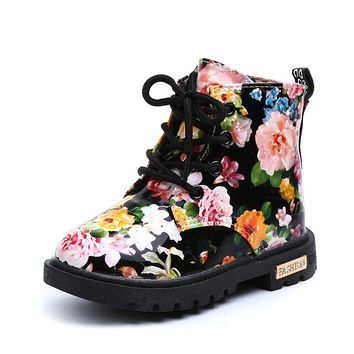 Comfy Girls Floral Print Boots Rubber Sole