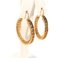Victorian 18K solid gold hoop earrings Stamped French fine gold jewelry Tastefully decorated and great condition
